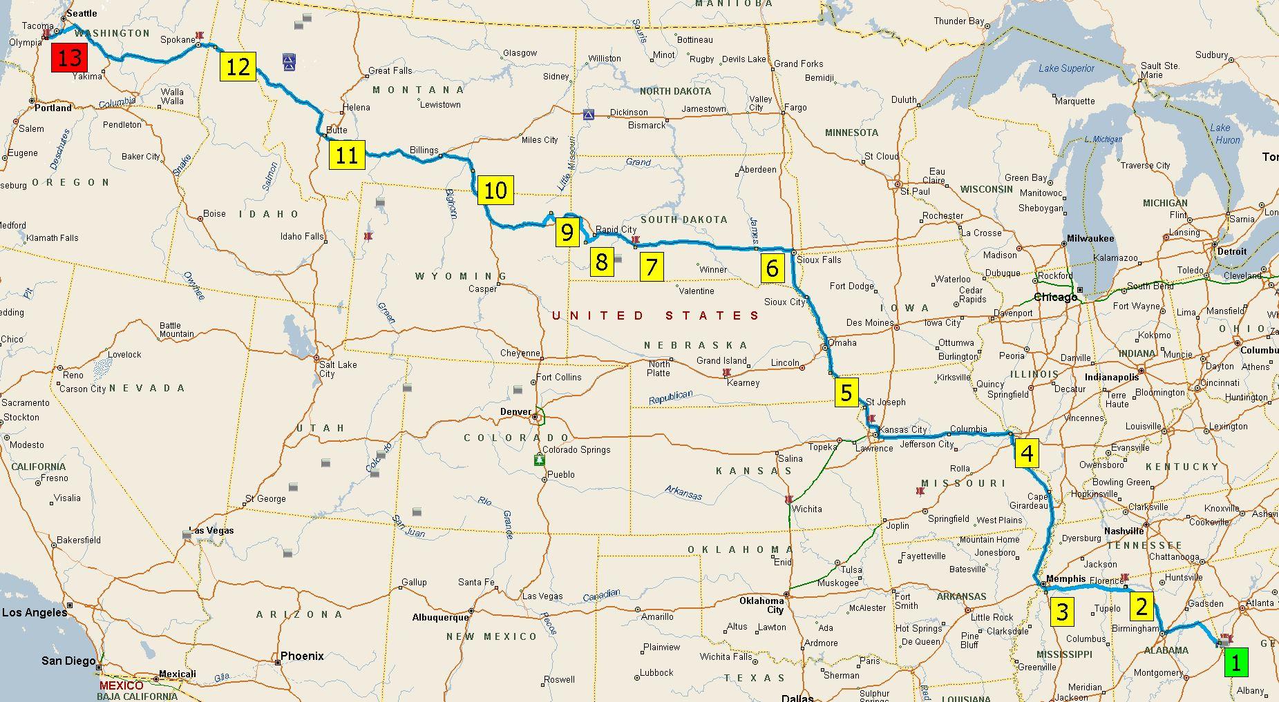 2016 Western Trip Outbound